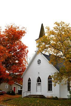 White church between trees with fall-colored leaves
