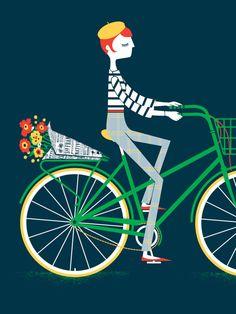 Lady on a Bike van JCardinalli op Etsy, $55.00
