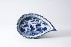 古染付貝形虫魚花鳥文向付五客(中国・明時代・17世紀)高41mm 径195×125mm