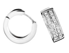 7581.  18k white gold creole earrings with brilliant cut diamonds.  $2025