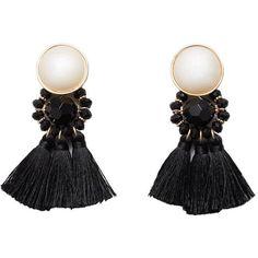 Tassels Pendant Earrings (140 SEK) ❤ liked on Polyvore featuring jewelry, earrings, pearl earrings, white pearl earrings, pendant jewelry, tassel jewelry and pearl pendant jewelry