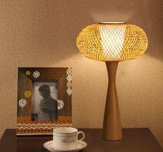 Hand Woven U0027Mushroom Cloudu0027 Inspired Natural Bamboo Nordic Style Primitive  Table Lamp,Bamboo
