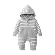 4555ff80b9cf7 Cotton Comfy Striped Hooded Unisex Baby Outfit Jumpsuit For