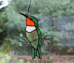 Hummingbird Glass Suncatcher by connysstainedglass on Etsy