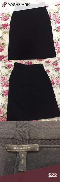 "BCBG black pencil skirt XS BCBG black pencil skirt. Material similar to Herve Leger dresses . Length 22""- mid length . Stretch good. Size XS , will fit anybody from size 00 to size 4. This skirt is an essential item of any girl's closet! BCBGMaxAzria Skirts Pencil"