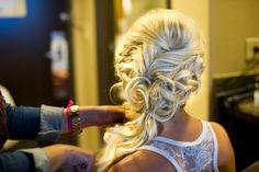 Updo, side pony , wedding hair ,bridal hair , hair extensions, big hair big curls long blonde hair braids half up hair by Liz vela