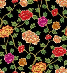 Korea Traditional Pattern Flowers - black