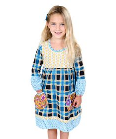 Another great find on #zulily! Blue Poppin' Plaid Delany Knit Dress - Toddler & Girls #zulilyfinds