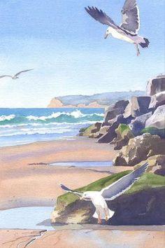 Mary Helmreich WATERCOLOR Three Seagulls At Coronado Beach Painting by christina carrera