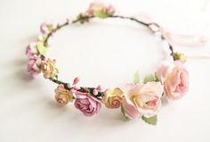 Blush Flower Crown / Summer Wedding Floral Headband Flower Girl Hair Wreath Yellow Pink Floral Crown Bridal Halo Headband