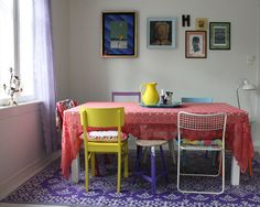55 best dining room furniture for your home 7 Mismatched Dining Chairs, Dining Room Furniture, Dining Rooms, Painted Chairs, Colorful Chairs, Best Dining, Upcycled Furniture, Apartment Living, Sweet Home