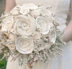 Signature Rustic Cream Ivory Bride's Alternative Wedding Bouquet - Sola Wood, Wildflowers, Vintage Book Flowers, Fabric Flowers, Burlap