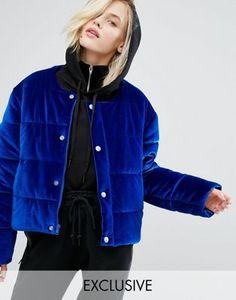 Бархатная дутая оversize-куртка без воротника Puffa