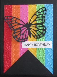 handmade Birthday Card by Penny Strawberry ... black base and die cut butterflu ... luv the big fishtail banner cut from bright strips of cardstock with different embossing folder textures ... Stampin' Up!