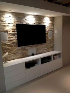 Inspired tv wall living room ideas (11) Basement Entertainment Center, Entertainment Ideas, Ikea Cupboards, Glass Cabinets, Wall Cabinets, Custom Cabinets, White Cabinets, Kitchen Cabinets, Renovation Design