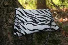 SALE! Serengeti Clutch - Zebra Hair on Hide Leather Clutch Purse with Chain by Beaudin - pinned by pin4etsy.com