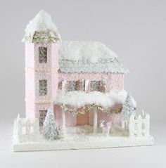 Pink Putz House with Puppy | Cody Foster Christmas Village Houses - TheHolidayBarn.com