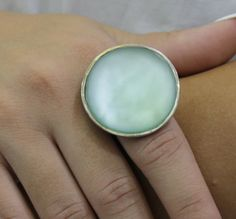 sea glass ring.big silver ring.light blue seaglass ring.handmade jewelry.adjastable ring.sterling silver.big round ring.summer ring.
