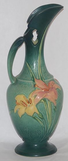 Roseville Pottery Zephyr Lily Green Ewer