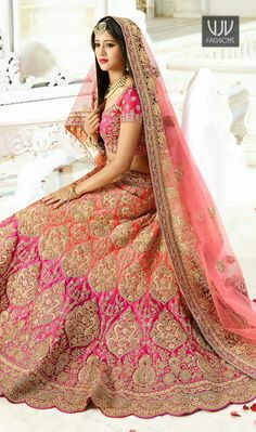 Zari work Peach Shaded and Pink Satin Silk Lehenga Choli with Pita, Stone and Pearl work on it with some Cut work on border. Paired with Pink colored Satin Silk Choli to add a glance your look. Indian Bridal Outfits, Indian Bridal Lehenga, Indian Bridal Wear, Pakistani Bridal, Indian Dresses, Bridal Dresses, Pink Bridal Lehenga, Designer Bridal Lehenga, Bridal Dress Design