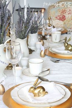 An Easter Tablescape with Vintage Brass, Eyelet Lace and Dried Lavender