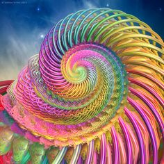 Spiraling Rainbow Shell Fractal — lmage by Sophia Vitko. Fractal Design, Fractal Art, Fractal Images, World Of Color, Over The Rainbow, Mellow Yellow, Sacred Geometry, Fractal Geometry, Geometry Tattoo