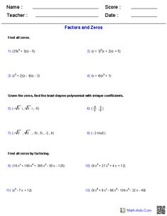 Factors and Zeros Polynomial Functions Worksheets