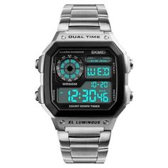 Waterproof Digital Wristwatch Mens Sport Watches, Best Watches For Men, Popular Watches, Digital Wrist Watch, Adjustable Weights, Men With Street Style, Bracelet Cuir, Seiko Watches, Wrist Watches