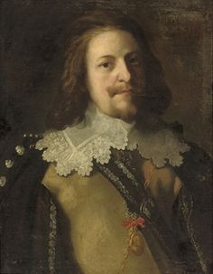 Portrait of an officer, half-length, in a buff coat and lace collar