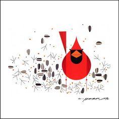 Cardinal Close-Up wall mural by Charley Harper