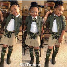 Malani Rocking her custom pant top hair bow and chocker Black Kids Fashion, Cute Kids Fashion, Little Girl Fashion, Toddler Fashion, Toddler Outfits, Kids Outfits, School Uniform Outfits, Uniform Ideas, Kids Uniforms