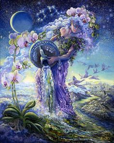 Fairy and fantasy art images, fairy pictures & drawings, flower and butterfly illustrations from Fairies World. Fairies World, Fairy & Fantasy Art Gallery - Josephine Wall/Aquarius© Age Of Aquarius, Moon In Aquarius, Aquarius Sign, Aquarius Traits, Aquarius Personality, Aquarius Astrology, Aquarius Woman, Aquarius Planet, Aquarius Tattoo