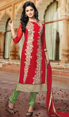 Red Embroidered Georgette Evening Wear Suit Look like a modern princess wearing this red embroidered georgette evening wear suit. The resham work seems chic and aspiration for any celebration.  #EveningWearChudidarSuit #DesignerAnarkaliSuits