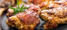 Who said a sensible meal can't taste decadent? With an easy, prep time, crispy baked chicken thighs are a Keto staple any night of the week. Add your favorite veggies for a savory entrée that will please the palate (and keep you on the. Garlic Chicken Thighs Recipe, Crispy Baked Chicken Thighs, Marinated Chicken Thighs, Slow Cooker Chicken Thighs, Chicken Thigh Recipes, Chicken Breasts, Recipe Chicken, Roaster Oven Recipes Chicken, Smoker Recipes