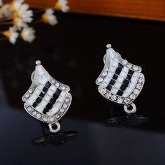 """10PCs Stud Earrings Flag Shape Dull Silver Tone 24.5mm x16mm(1"""" x 5/8"""")"""