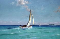 African American Artist, American Artists, Watercolor Ocean, Sailboat Painting, Boat Art, Painting Inspiration, Oil On Canvas, Sailing, Coastal