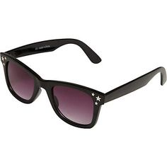 black retro style sunglasses with star detail -