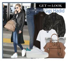 """687. Celebrity Airport Style: Gigi Hadid"" by zaandupreez ❤ liked on Polyvore featuring Mother, RtA, MANGO, Quay, Marc Jacobs, Ash, women's clothing, women, female and woman"