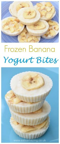 Quick and easy banana frozen yogurt bites - just 3 ingredients for this simple but healthy snack recipe - great for cooking with kids - Eats Amazing UK #easyrecipe #3ingredient #cookingwithkids #healthysnacks #kidsfood #yogurt #banana #frozenyogurt #snack #nobake
