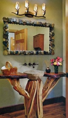 Stone mirror and sink, natural wood vanity