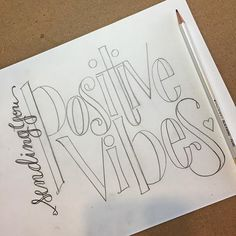 "The prompt for today's #togetherweletter challenge was ""positive vibes"". I could see this one as a stamp for cards. #handlettering #doodlelove @togetherweletter"