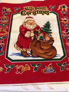 Boyds Bears Beary Christmas Crafter Unfinished Tapestry Word Pillow Fabric Piece