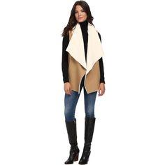 Splendid Keane Vest Women's Vest ($91) ❤ liked on Polyvore featuring outerwear, vests, tan, lapel vest, sleeveless vest, open front vest, sleeveless draped vest and sleeveless waistcoat