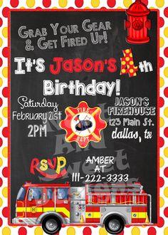 5 X 7 Printable Firetruck Birthday Invitation - Firetruck themed party - firefighter birthday party invitation - fireman birthday party Fireman Party, Firefighter Birthday, Fireman Sam, 4th Birthday Parties, 2nd Birthday, Birthday Ideas, Birthday Party Invitations, Just In Case, First Birthdays