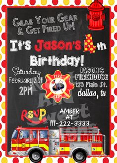 5 X 7 Printable Firetruck Birthday Invitation - Firefighter Birthday Invitation - Fireman Birthday #firetruckparty