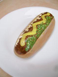 Hot Dog Painted Stone Rock Art by 2birdstudio on Etsy, $16.00