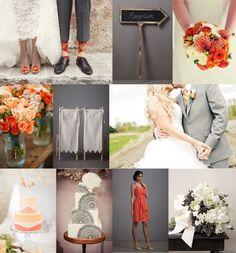 Orange and Grey Wedding! Love(: