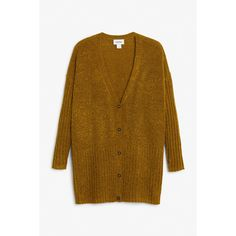Monki Buttoned cardigan (605 RUB) ❤ liked on Polyvore featuring tops, cardigans, ribbed knit cardigan, brown knit cardigan, button down cardigan, ribbed v neck top and ribbed cardigan