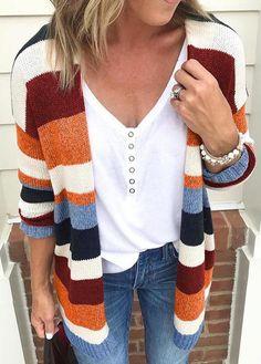 eddc07444a Fashionyan Colorful Striped Cardigan. Striped Cardigan