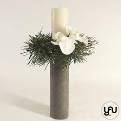 Lumanare botez scurta orhidee si pin - LB101 – YaU concept Christening, Vase, Candles, Contemporary, Design, Candy, Vases, Candle Sticks